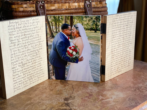 Three photo boards hinged together