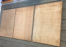 Declaration of Independenc, Bill of Rights, Constitution of the United States of America printed on wood. Three piece set.