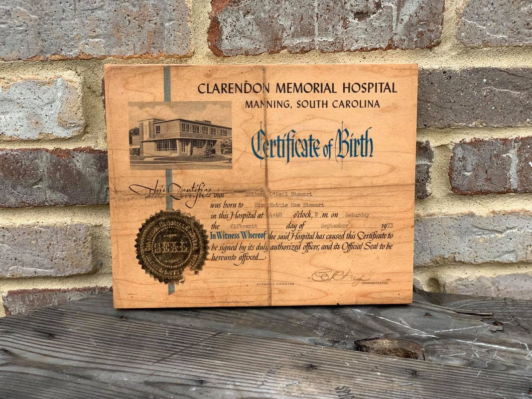 Birth Certificates Printed on wood