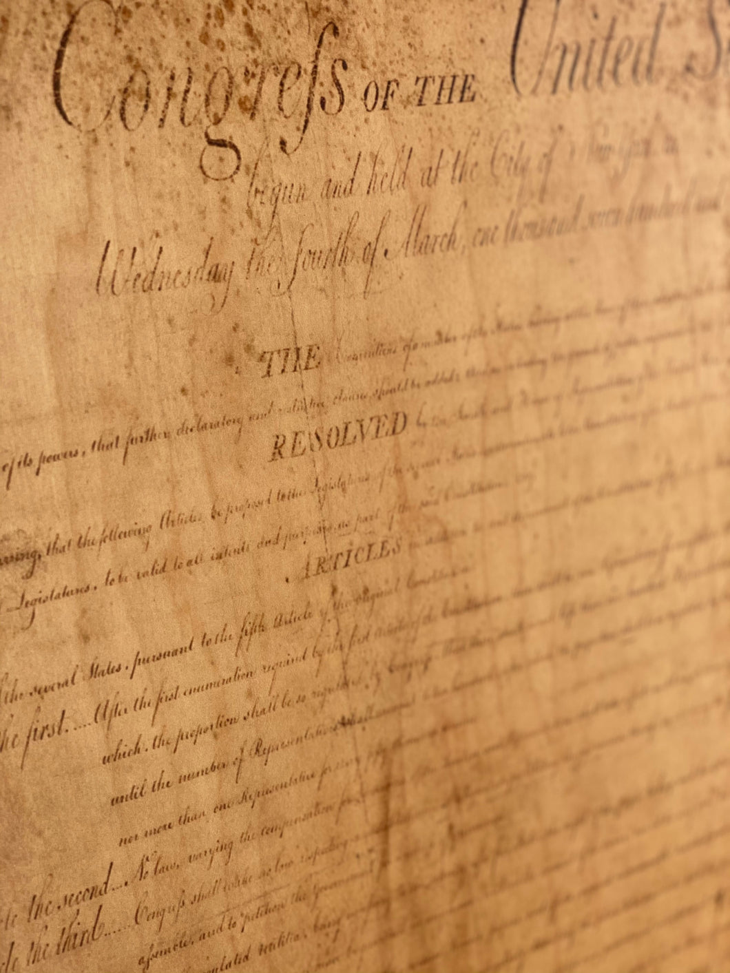 The Bill Of Rights (First Page) Printed on Wood