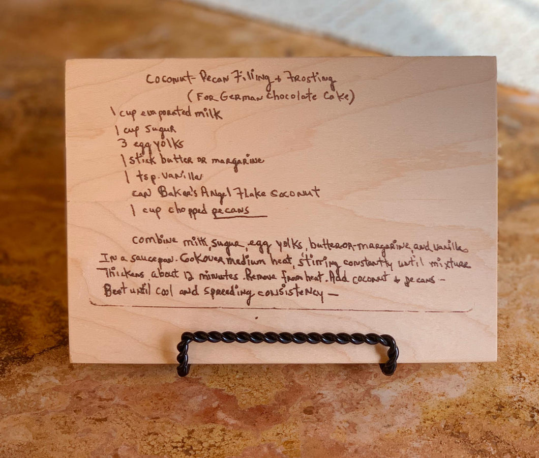 Recipes printed on wood