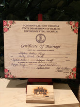 MARRIAGE CERTIFICATES PRINTED ON WOOD