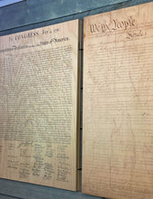 Declaration of Independenc, Bill of Rights, Constitution of the United States of America printed on wood.