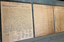 Declaration of Independenc, Bill of Rights, Constitution of the United States of America printed on wood as three piece set.