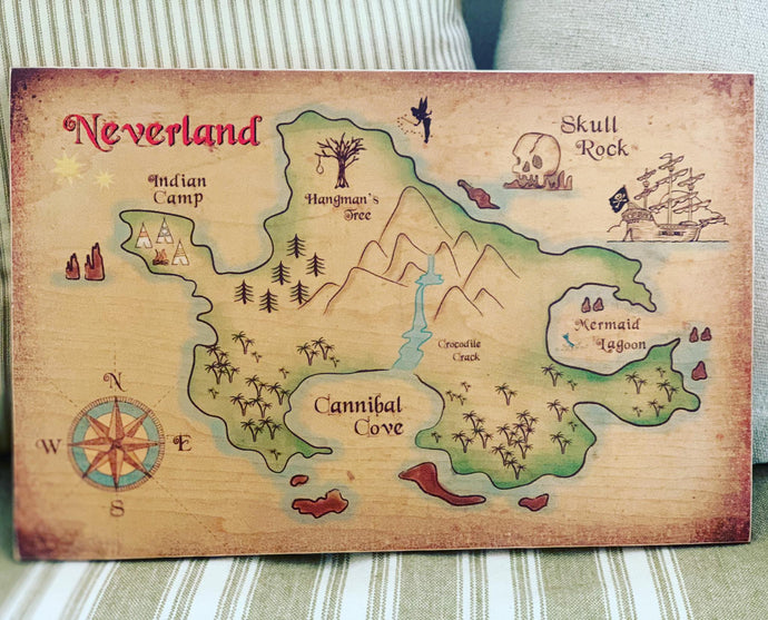 Peter Pans Neverland map looks amazing in your new baby's room. Also a perfect baby shower gift.