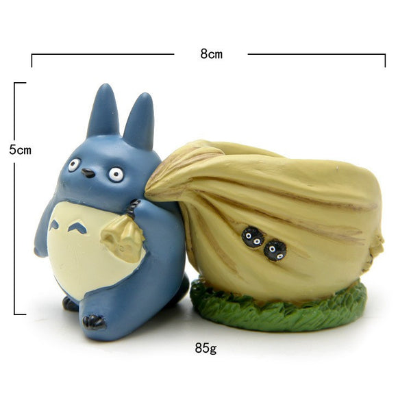 Blue Totoro figurines with bag flower pot toy set home decoration size