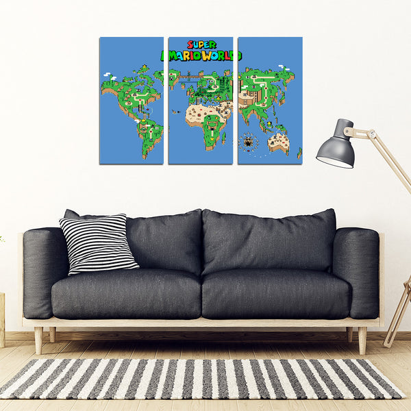 Mario World Map 3 Piece Framed Canvas - Cute Totoro: My Neighbor Totoro