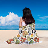 Ghibli Doodle Beach Blanket - Cute Totoro: My Neighbor Totoro