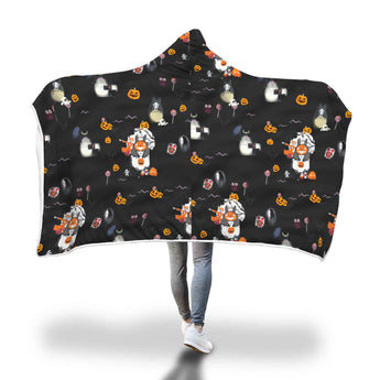 Ghibli Doodle halloween hooded blanket - Cute Totoro: My Neighbor Totoro