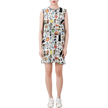 Studio Ghibli Clothing Doodle Sleeveless Round Neck Shift Dress - Cute Totoro: My Neighbor Totoro