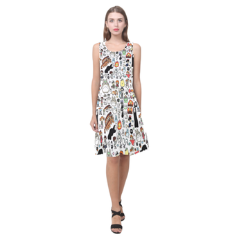 Ghibli Clothing Doodle Sleeveless Splicing Shift Dress - Cute Totoro: My Neighbor Totoro