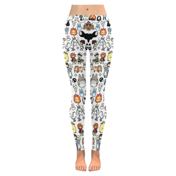 Ghibli clothing Doodle Low Rise Leggings - Cute Totoro: My Neighbor Totoro