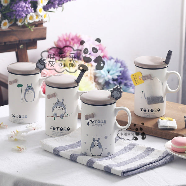 Totoro Lovely Coffee Mugs With Cover and Spoon  370ml - Cute Totoro: My Neighbor Totoro