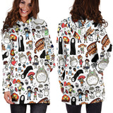 Studio Ghibli doodle Clothing Women's Hoodie Dress - Cute Totoro: My Neighbor Totoro