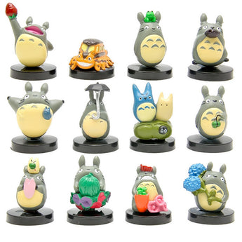 12pcs/lot Mini Totoro Figures Toy Set - Cute Totoro: My Neighbor Totoro