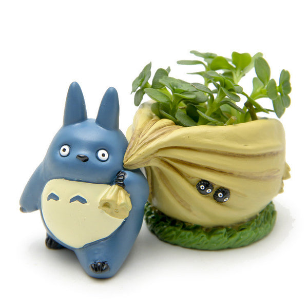 Blue Totoro figurines with bag  flower pot toy set home decoration - Cute Totoro: My Neighbor Totoro