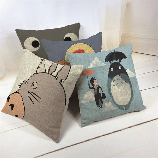Totoro Printed Throw Pillow Case - Cute Totoro: My Neighbor Totoro