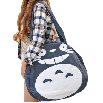 Totoro Bag Cute Women's Large Canvas Shoulder School - Cute Totoro: My Neighbor Totoro