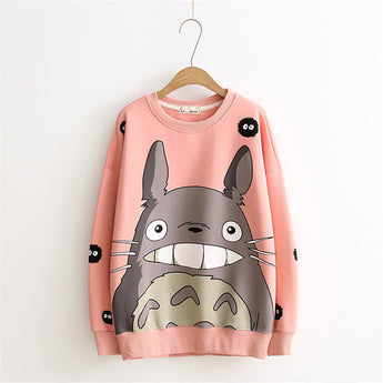 Winter Totoro Cotton Sweatshirts Women Long Sleeves O-neck - Cute Totoro: My Neighbor Totoro