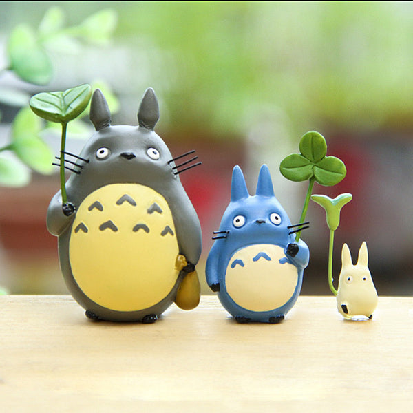 Cute Totoro with Leaf Action Figure Model Toy for Kids (3 pcs) - Cute Totoro: My Neighbor Totoro