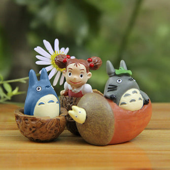 3pcs/lot Totoro Figure Toys Resin Collection Model - Cute Totoro: My Neighbor Totoro