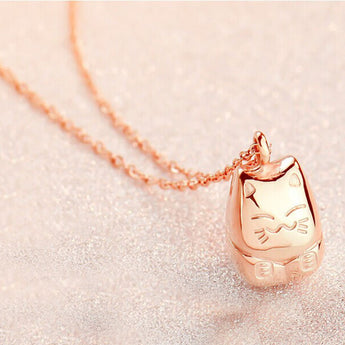 Totoro Necklace Lucky  18 k Rose Gold - Cute Totoro: My Neighbor Totoro