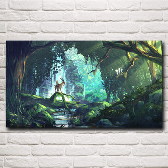 Princess Mononoke Print Ashitaka In Forest On Canvas - Cute Totoro: My Neighbor Totoro