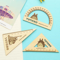 Totoro wooden rulers set 3PCS Straight Protractor and Triangle - Cute Totoro: My Neighbor Totoro