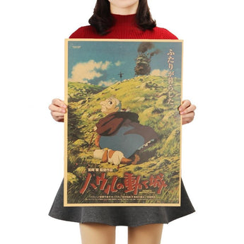 Howl Moving Castle Kraft Paper Poster 51x36cm - Cute Totoro: My Neighbor Totoro