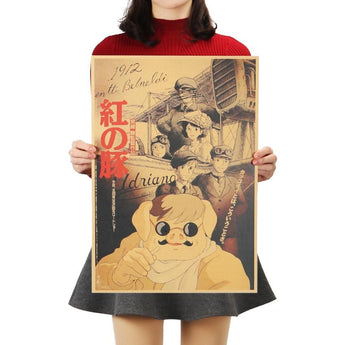 Red Pig Movie Kraft Paper Poster 36 X 51.5cm - Cute Totoro: My Neighbor Totoro