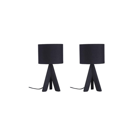 "Euro Style Collection Askos 12"" Mini Table Lamp (Set of 2)-Black (Wood Legs)"