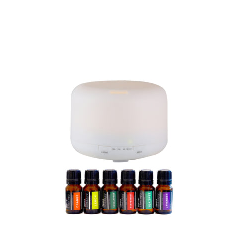Euro Style Collection Ultrasonic 120ml Oil Diffuser with LED Light & 5 Essential Oils