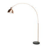 "Euro Style Collection London Marble Base 59"" Arched Floor Lamp-Copper"