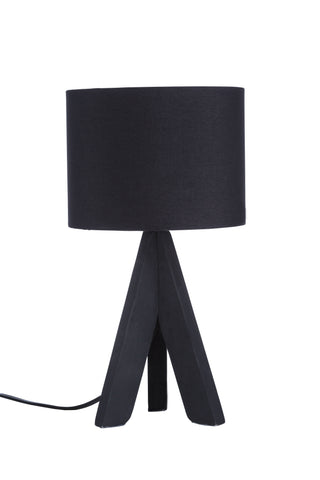 "Euro Style Collection Askos 12"" Mini Table Lamp-Black (Wood Legs)"