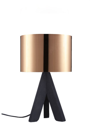 "Euro Style Collection Askos 12"" Mini Table Lamp-Copper (Wood Legs)"