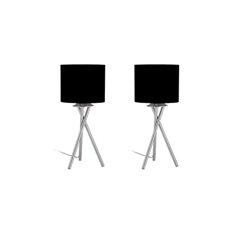 "Euro Style Collection Lisboa Mini 15"" Table Lamps (Set of 2)-Black"