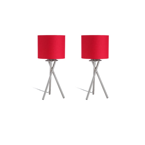 "Euro Style Collection Lisboa Mini 15"" Table Lamps (Set of 2)-Red"