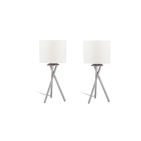 "Euro Style Collection Lisboa Mini 15"" Table Lamps (Set of 2)-White"