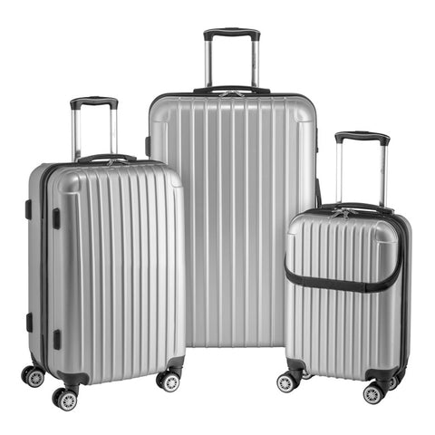 Euro Style Collection Ibiza 3-piece Hardcase Spinner Luggage Set-Silver