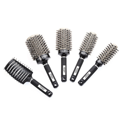 Xenia Paris 5 Pcs  Ceramic Heat Activated Professional Hair Brush Bundle