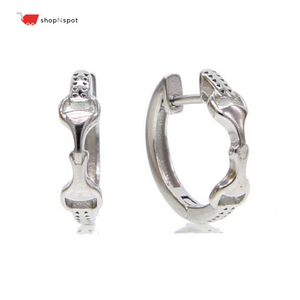 Authentic 925 Sterling Silver Horse Double Snaffle Bit Equestrian Earring