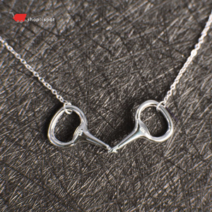 Authentic 925 Sterling Silver Horse Double Snaffle Bit Equestrian Necklace With Earrings Set