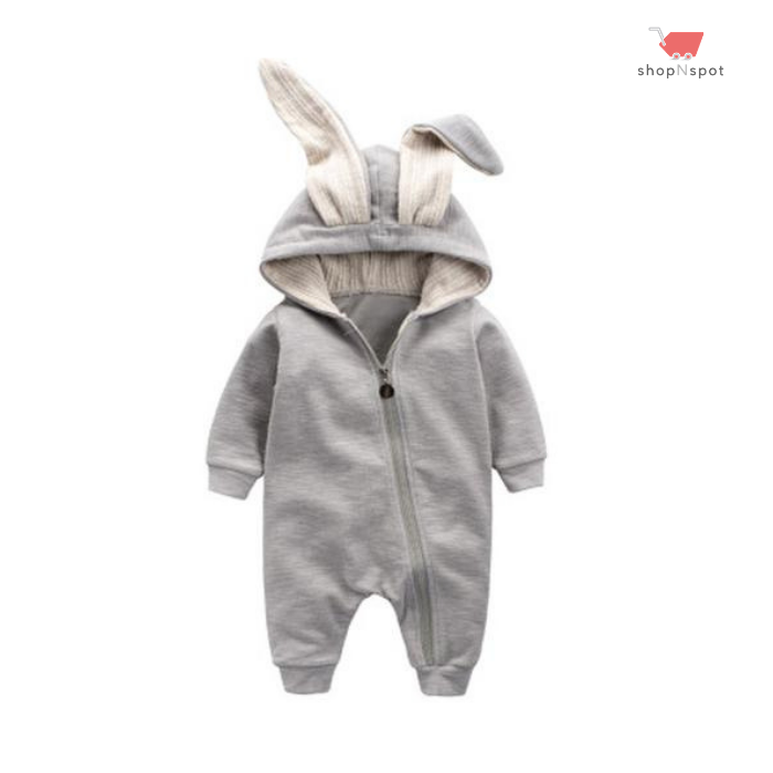 Warm Bunny Ear Hooded Onesie