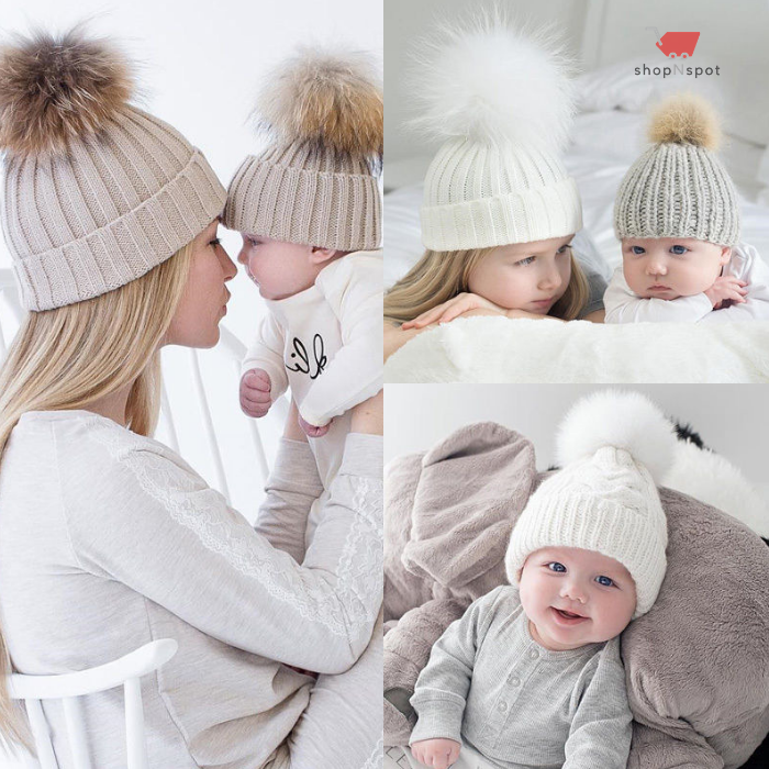 Knitted Winter Beanie For Mother & Child