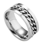 Stainless Steel Chain Spinner Men's Ring