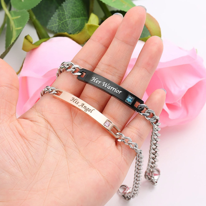 His Angel & Her Warrior Personalized Couples Bracelets Matching