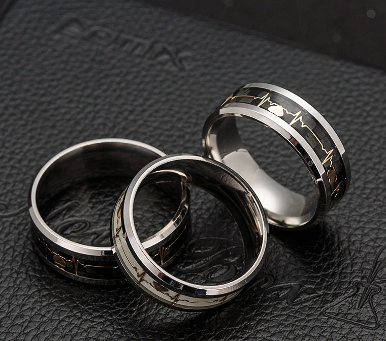 Stainless Steel Couples Heartbeat Promise Ring