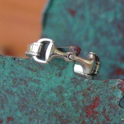 Authentic 925 Sterling Silver Double Horse Snaffle Bit Equestrian Ring