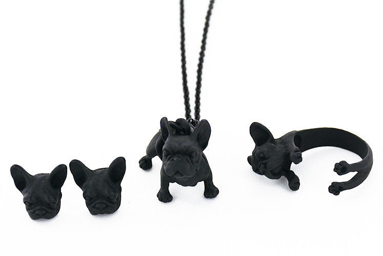 Vintage French Bulldog Jewelry Set