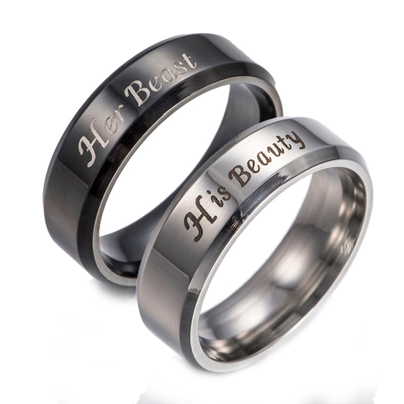 His Beauty and Her Beast Stainless Steel Couples Ring